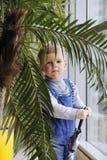 Bebé en un mono azul detrás de una palmera cerca de la ventana imagenes de archivo