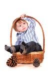 Bebé en una cesta aislada en un fondo blanco fotos de archivo libres de regalías