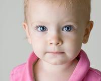 Bebé eyed azul que olha em linha reta em você Imagem de Stock Royalty Free