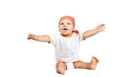 Bebé feliz aislado en blanco Fotos de archivo