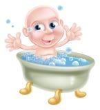 Bebé feliz de la historieta en baño Imágenes de archivo libres de regalías