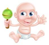 Bebé feliz del traqueteo de la historieta Imagen de archivo