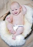 Bebé feliz en cesta Foto de archivo libre de regalías