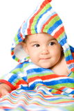 Bebé feliz en colores Foto de archivo libre de regalías