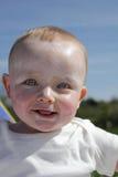 Bebé feliz en Suncream Imágenes de archivo libres de regalías