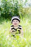 Bebé feliz en traje de la abeja al aire libre Fotografía de archivo libre de regalías