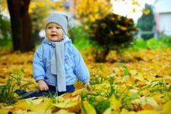 Bebé feliz entre las hojas caidas en parque del otoño Foto de archivo libre de regalías