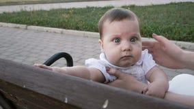 Bebé feliz que se sienta en el banco en parque almacen de metraje de vídeo