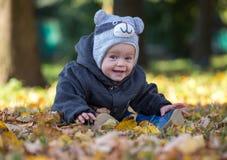 Bebé feliz que se sienta en las hojas caidas al aire libre Imágenes de archivo libres de regalías