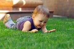Bebé feliz que tem o divertimento encontrar-se em graass verdes Imagens de Stock