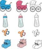 bebé fijado: objetos para los bebés foto de archivo