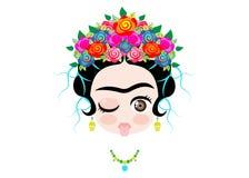 Bebé Frida Kahlo de Emoji a la lengua hacia fuera con la corona y de flores coloridas, aislado Imagenes de archivo