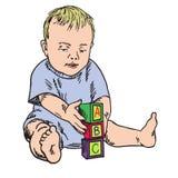 Bebé hermoso que aprende mientras que juega con los bloques de b una c stock de ilustración