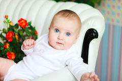 Bebé idoso bonito de 5 meses Fotografia de Stock