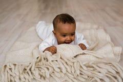 bebé idoso do americano africano de 3 meses Imagens de Stock