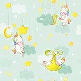 Bebé inconsútil que duerme en una estrella Unicorn Background Pattern Imagen de archivo