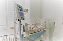 Bebé inocente recién nacido que duerme en una incubadora Foto de archivo libre de regalías