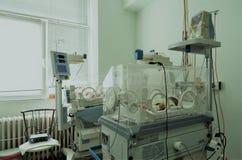 Bebé inocente recién nacido que duerme en una incubadora Foto de archivo