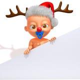 Bebé Jake con el ejemplo de las astas 3d del reno de la Navidad Foto de archivo