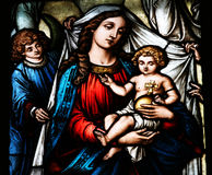 Bebé Jesús de la explotación agrícola de Maria de Virgen imagenes de archivo