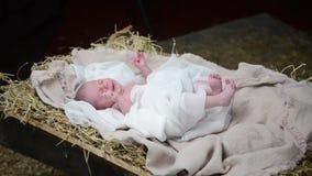 Bebé Jesús en el pesebre almacen de video