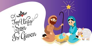 Bebé Jesús llevado en la escena de Belén en familia santa ilustración del vector