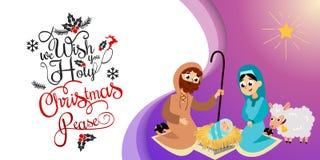 Bebé Jesús llevado en la escena de Belén en familia santa stock de ilustración
