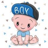 Bebé lindo de la historieta en un casquillo ilustración del vector