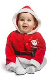 Bebé lindo de Santa Claus aislado en blanco Imagenes de archivo