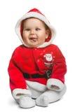 Bebé lindo de Santa Claus aislado en blanco Foto de archivo