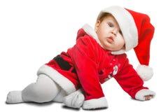 Bebé lindo de Santa Claus aislado en blanco Imagen de archivo