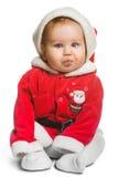Bebé lindo de Santa Claus aislado en blanco Imagen de archivo libre de regalías