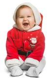 Bebé lindo de Santa Claus aislado en blanco Fotos de archivo libres de regalías