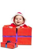 Bebé lindo de Santa Claus aislado en blanco Fotos de archivo