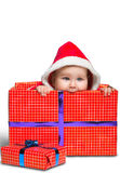 Bebé lindo de Santa Claus aislado en blanco Imágenes de archivo libres de regalías
