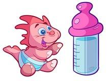 Bebé lindo Dino con la botella grande Imagenes de archivo