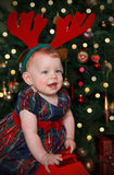 Bebé lindo en asta del reno Imágenes de archivo libres de regalías