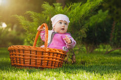 Bebé lindo en cesta en el parque verde imagen de archivo