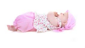 Bebé lindo en color de rosa Imágenes de archivo libres de regalías