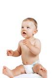 Bebé lindo en los pañales aislados en blanco Imagen de archivo libre de regalías
