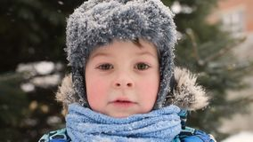 Bebé lindo en ropa y llevar del invierno un sombrero contra la perspectiva de la nieve y de un árbol de navidad almacen de metraje de vídeo