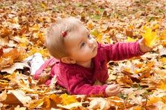 Bebé lindo que juega con las hojas imagen de archivo