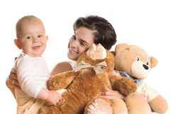 Bebé, madre y osos de peluche Fotos de archivo libres de regalías