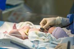Bebé masculino recién nacido que es comprobado con el estetoscopio Imagen de archivo