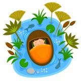 Bebé Moses en la arca stock de ilustración