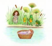 Bebé Moses y ranas Foto de archivo libre de regalías