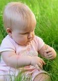 Bebé na grama Foto de Stock
