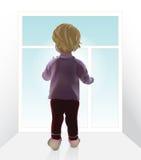 Bebé por la ventana stock de ilustración