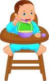 Bebé que come los alimentos para niños ilustración del vector