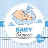 Bebé que duerme en la nube ilustración del vector